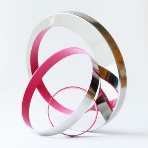 "Philippe Pallafray, ""Gravity (Magenta)"", 2020, 17 x 17 x 8.5 inches, Steel at Newzones Gallery, Calgary Canada"