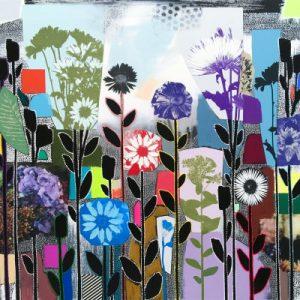 "Emily Filler, ""Dreamscape (wild garden) ii, 2021, 48 x 48 inches at Newzones Gallery, Calgary Canada"
