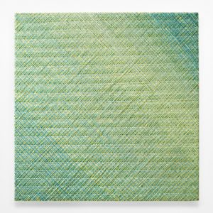 Vicky Christou, Green Light, 2021, Acrylic on Panel, 48x48 inches, Newzones Gallery, Calgary, Canada
