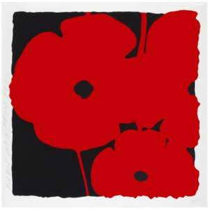 Donald Sultan, Poppies June 4 (red) 39x39 at Newzones Gallery, Calgary Canada